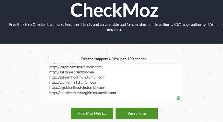 checkmoz bulk domain authority checker