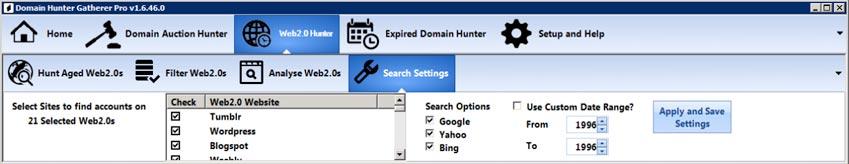 web 2-0 hunter search settings