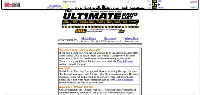 wayback machine websites