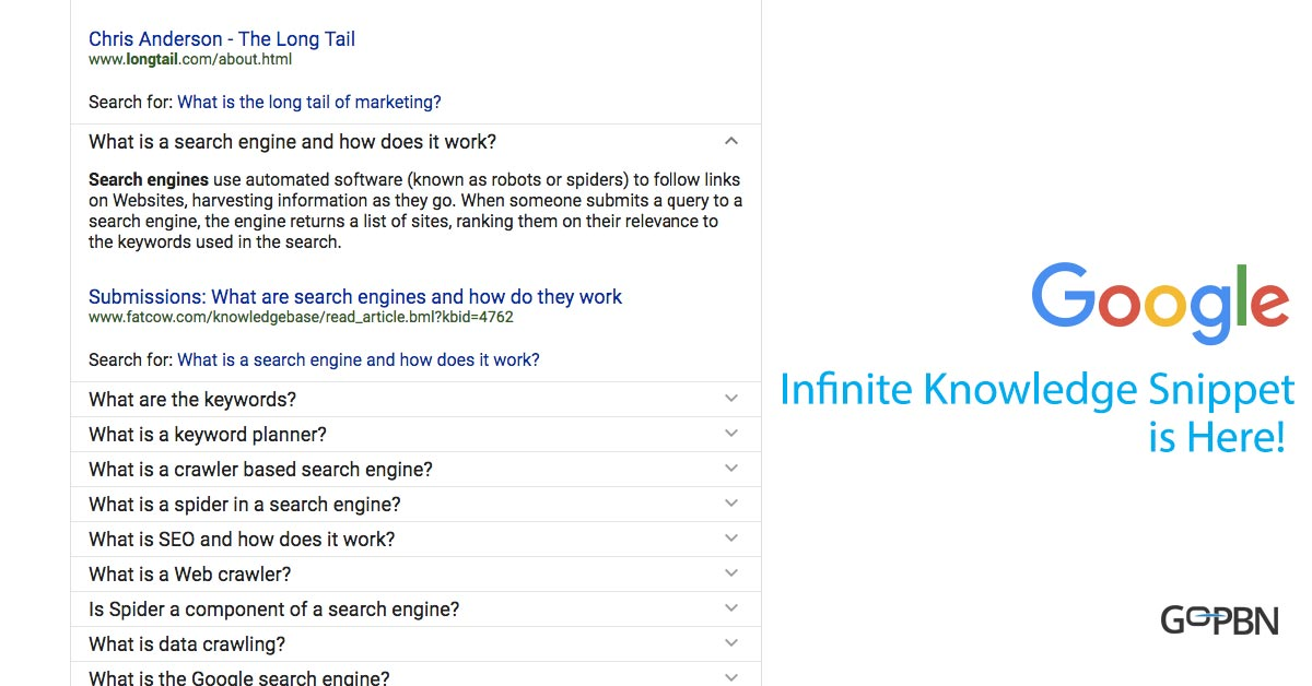 google infinite knowledge snippet