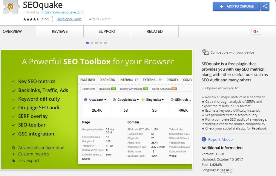Add SEOquake to your chrome